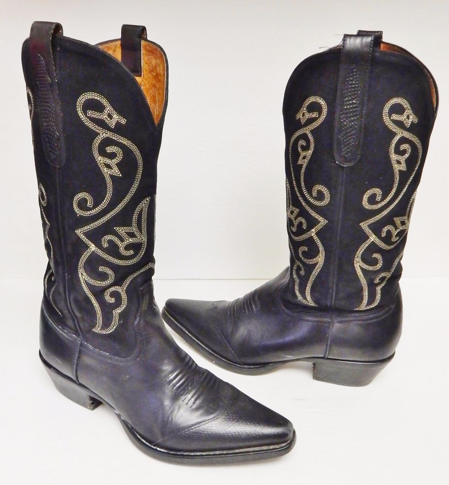NINE WEST Evie Boots Cowboy Western Suede & Leather Black Brazil Women's  8.5(?)