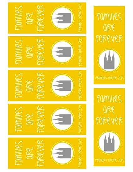 Families are Forever Printable Bookmarks 2014 LDS Primary Theme by ...