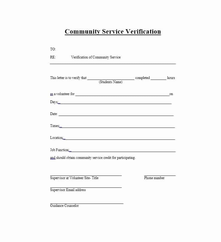 Community Service Form Template In 2020 Community Service Hours