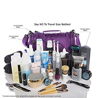 b04ca7ae41 Extra Large Travel Toiletry Bag   Portable Makeup Organiser and Shaving  Dopp Kit   Water Resistant