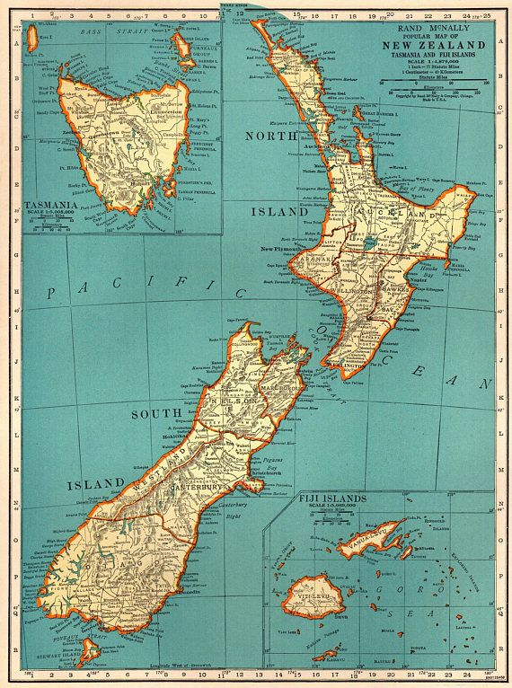 1937 Antique NEW ZEALAND Map Vintage Map of New Zealand Travel - new world map fiji country