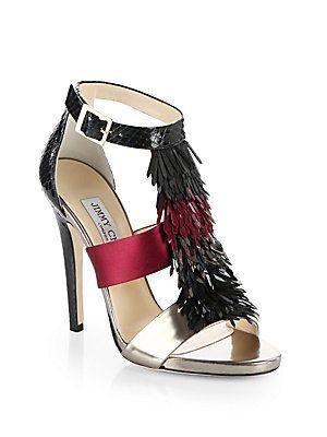 HOT! Jimmy Choo Fedora Fringe Snakeskin   Metallic Leather Sandals ... 02bf93a31a0