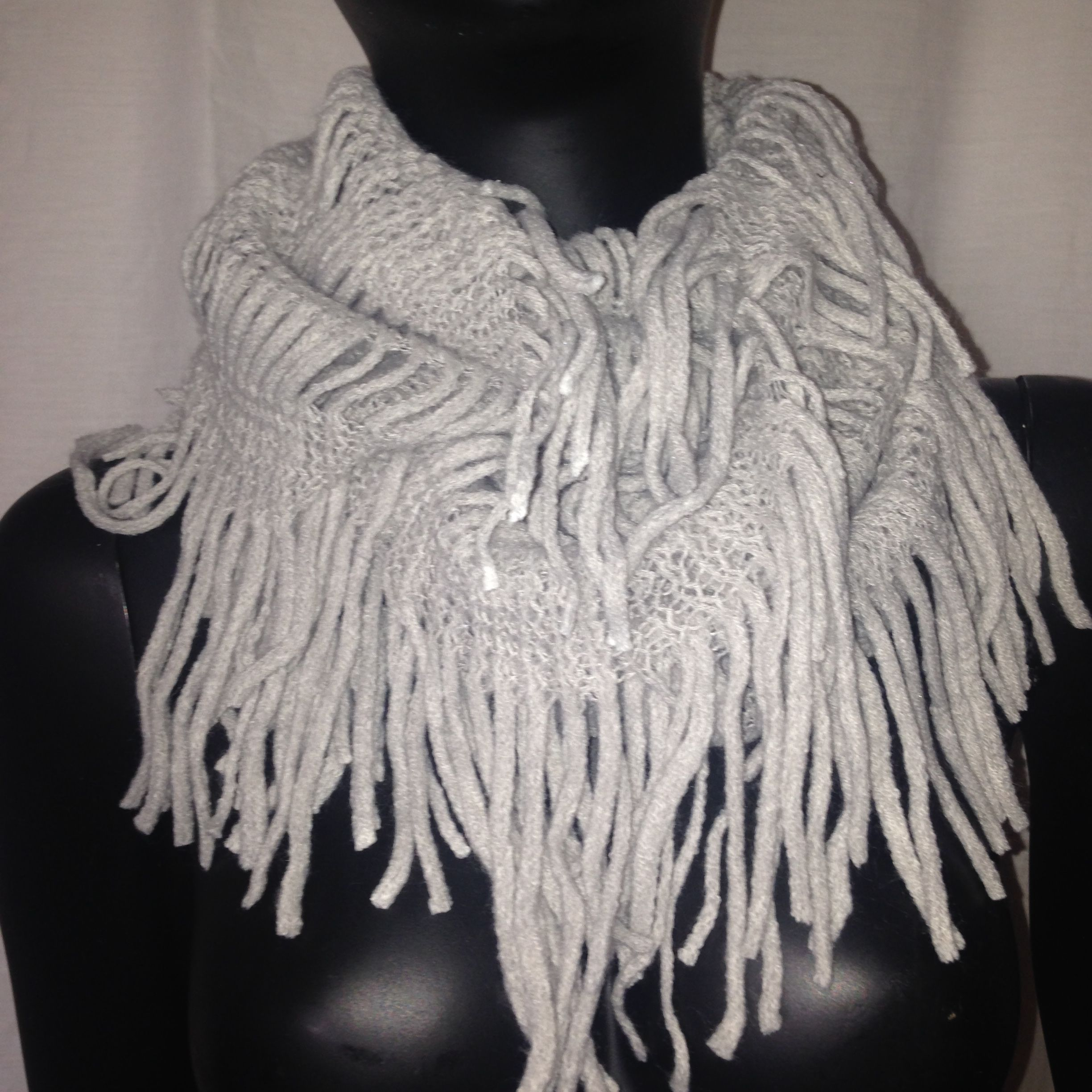 Soft artificial wool infinity Light Grey scarf www.secessories.com