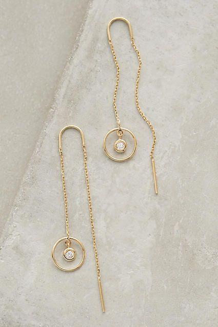 Or Rose Cristal Enfileur Boucles d/'oreilles chaîne Ear Threads Drop Dangle CZ