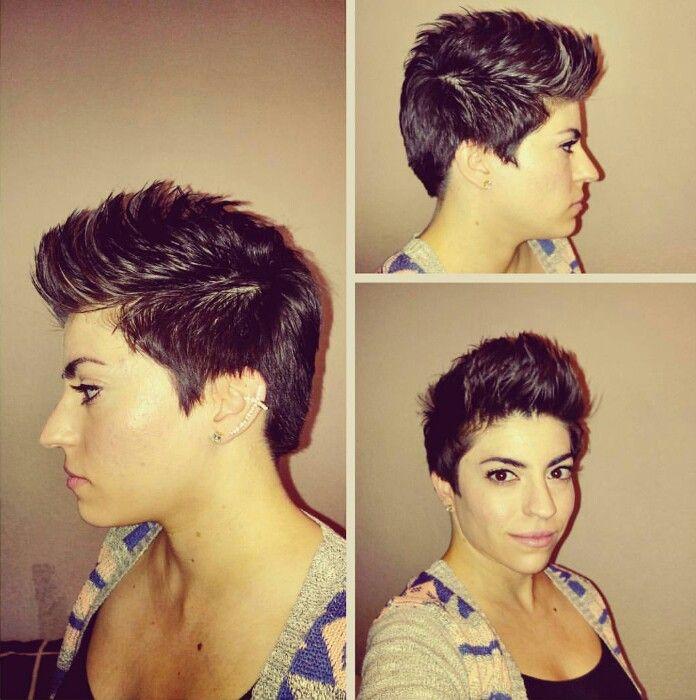 Faux Hawk Pixie Haircut Brunette Pixie Pixie Styles In 2018