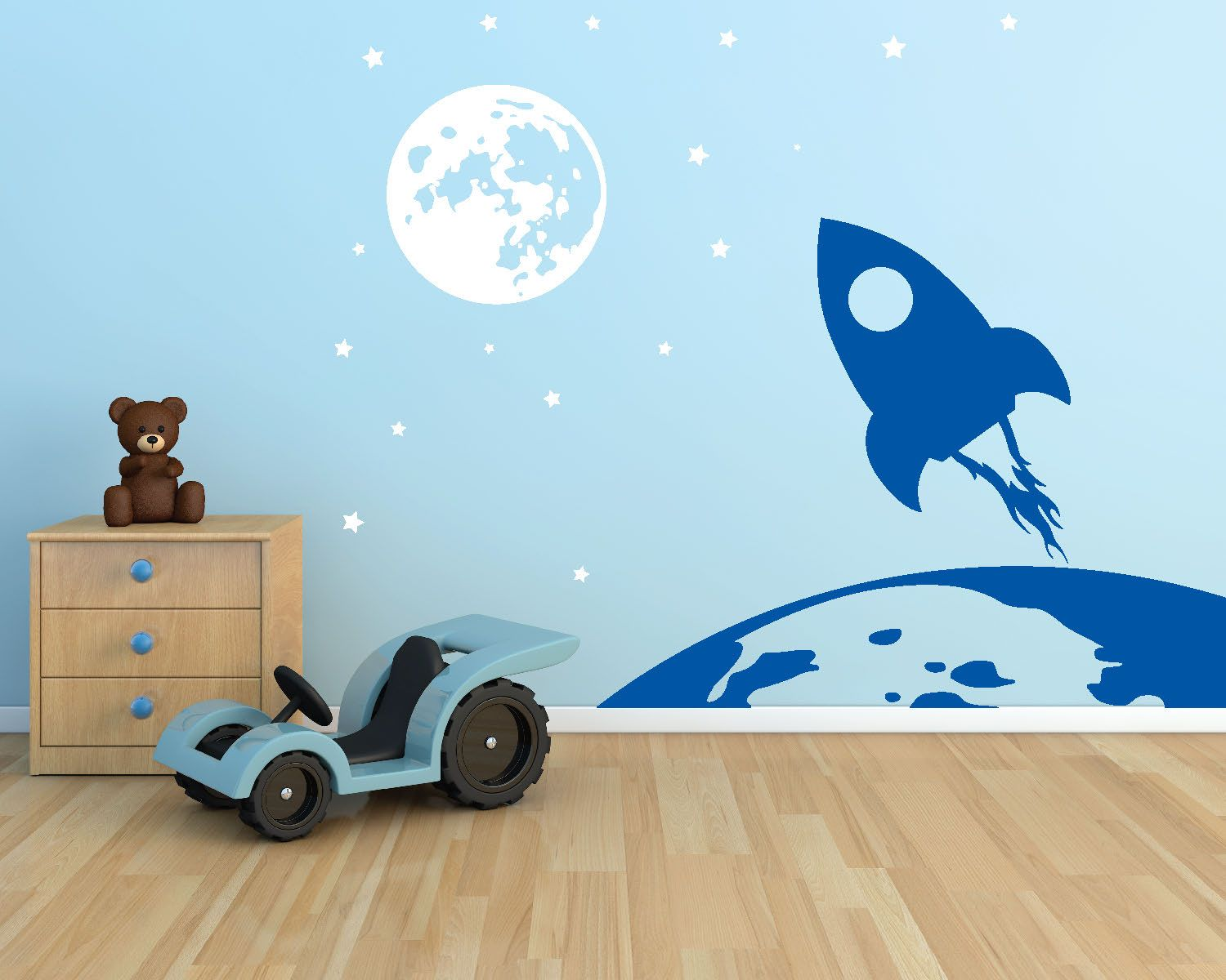 Earth Rocket To The Moon  Die Cut Vinyl Wall Decals Custom - Custom cut vinyl wall decals