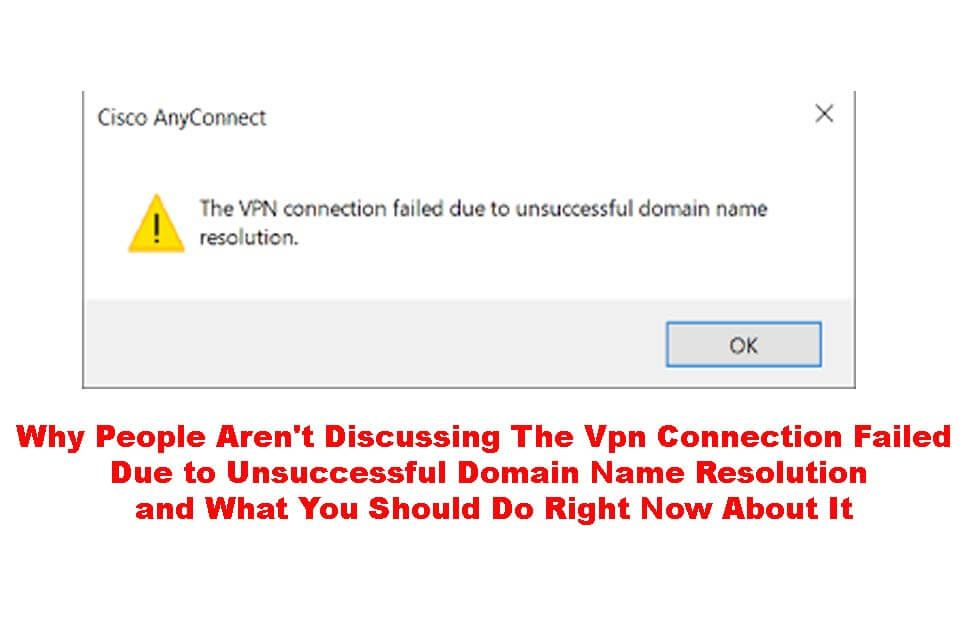 Cisco Vpn Connection Failed Unsuccessful Domain Name Resolution