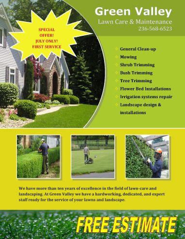 Free-Estimate-Offer lawn care flyers Pinterest Free flyer - lawn care specialist sample resume