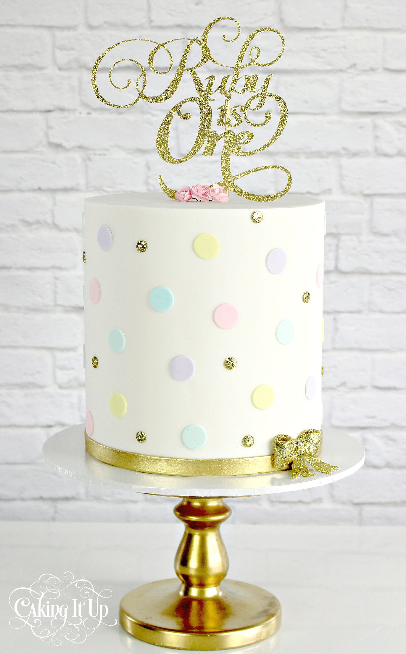 Awesome Sweet Little One Tier First Birthday Cake With Pastel Polka Dots Personalised Birthday Cards Epsylily Jamesorg