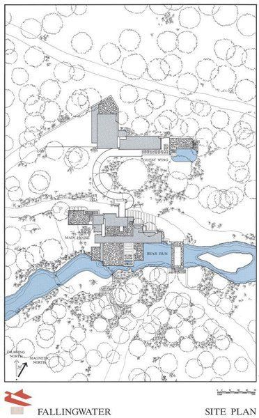 fallingwater house  plan du site et de l u0026 39 implantation de