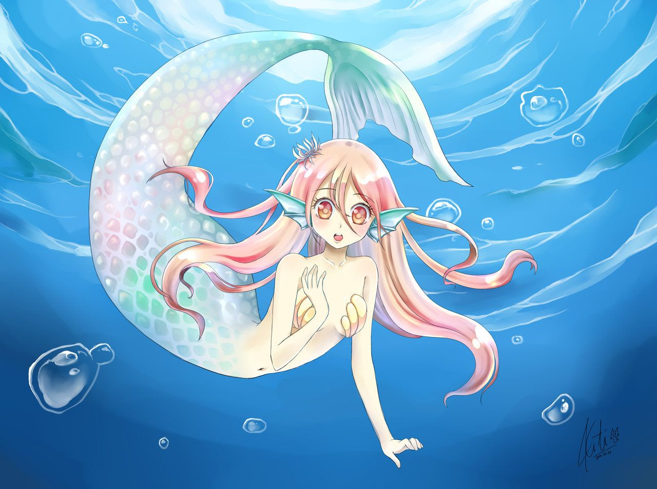 Anime mermaid girl