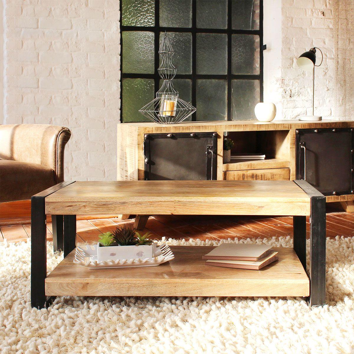 Table basse industrielle manguier 2 plateaux petit mod le en 2019 tables basses - Modele table basse ...