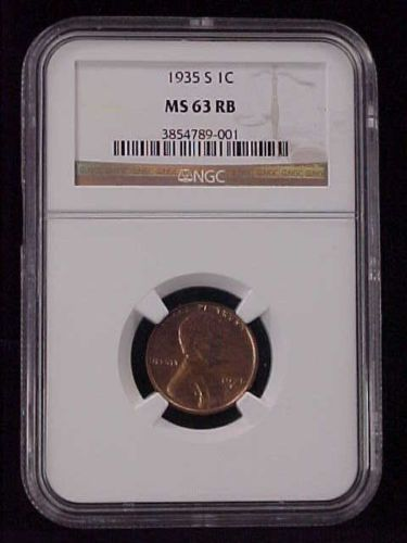 1935 Lincoln Wheat Cent Penny Graded NGC MS 63 RB Nice