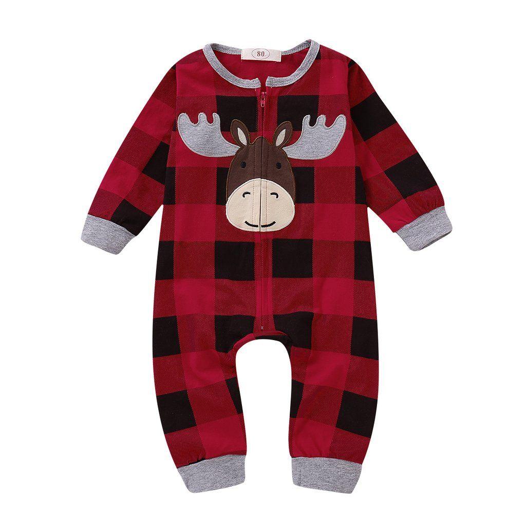 b65f2f1d9f2 Christmas Newborn Baby Girl Boy Deer Plaid Zipper Jumpsuit  baby   babyclothes  babychristmas  christmas  kid  babyfashion  romper  babyboy   babygirl ...