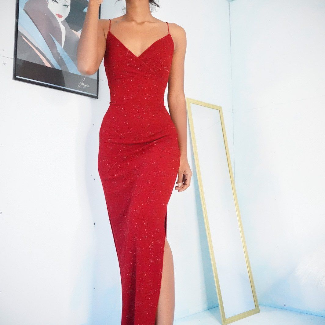 Masha Jlynn On Instagram Sold Vintage 90s Red Shimmer Gown With A Low Back For A Size Xs Stretchy And Pullover Pretty Prom Dresses Dresses Fancy Outfits [ 1064 x 1064 Pixel ]