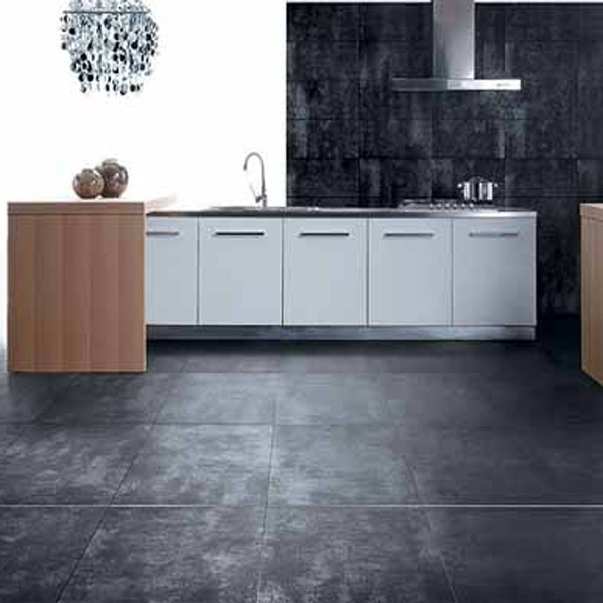 Metallic effect porcelain large format wall and floor tile with workshop modern kitchen tile rectified modular through body porcelain tile great look for a kitchen floor dailygadgetfo Image collections