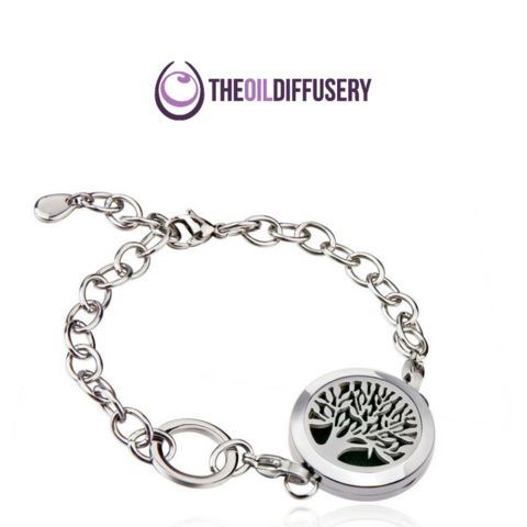 Tree Of Life Stainless Steel Essential Oil Diffuser Bracelet