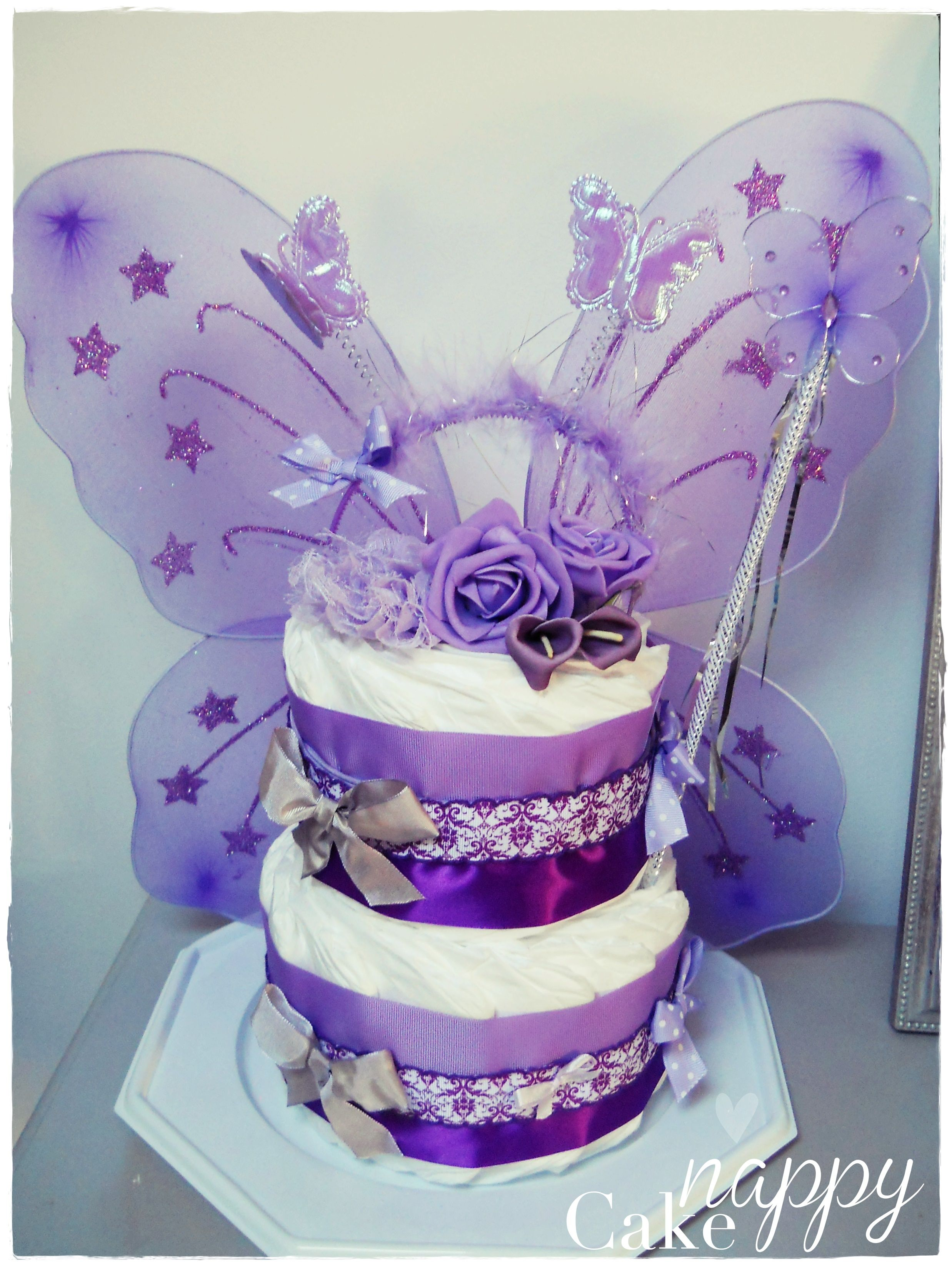 Gateau de couches 2 étages violet Fée ailes diademe Princesse  diapercake#gateaudecouches. Find this Pin and more on Baby Shower stuff ...