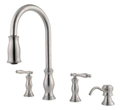 Pfister F5314Tms Hanover Double Handle 4Hole Pulldown Kitchen Awesome 4 Hole Kitchen Faucet Decorating Inspiration
