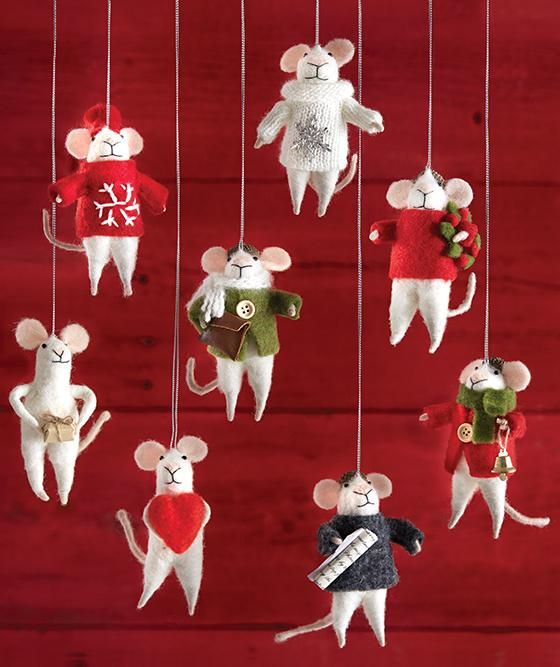 martha stewart living magnolia mouse festive mouse ornament fabric ornaments christmas mouse ornaments christmas tree ornament holiday decorations - Mouse Decorations Christmas