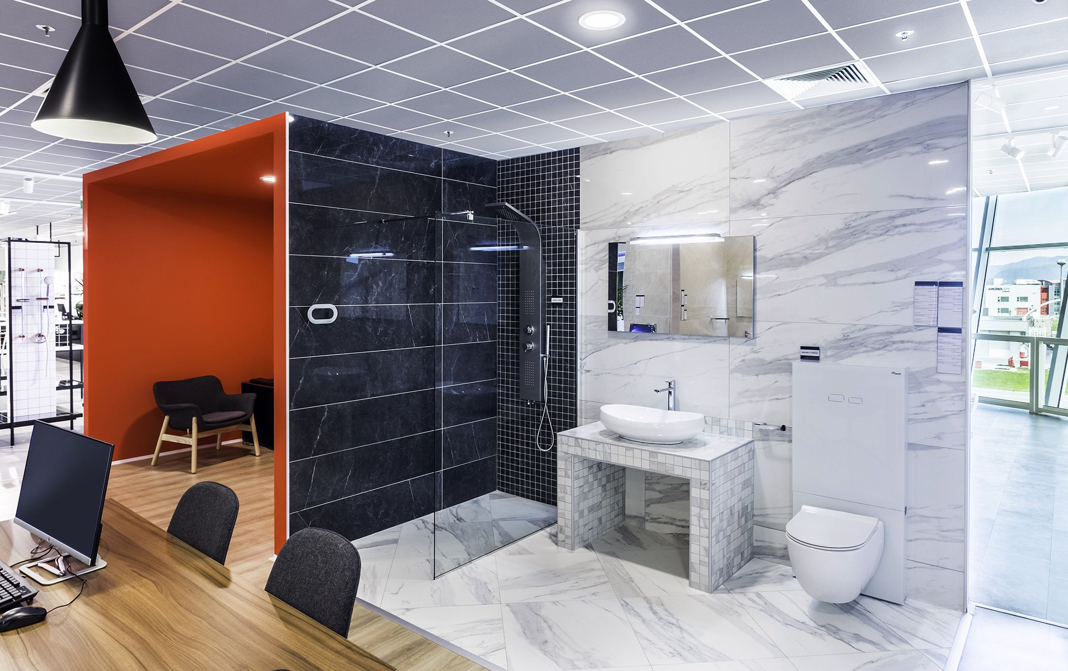 Premium design and quality bathroom equipment is displayed in the ...