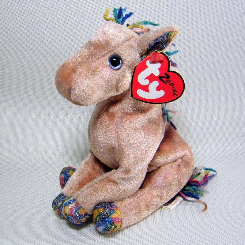 Ty Beanie Babies Zodiac HORSE with RARE Shimmer FABRIC