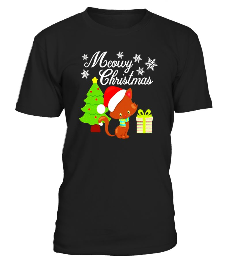 cat in a santa hat meowy christmas t shirt merry christmas black friday shirt black