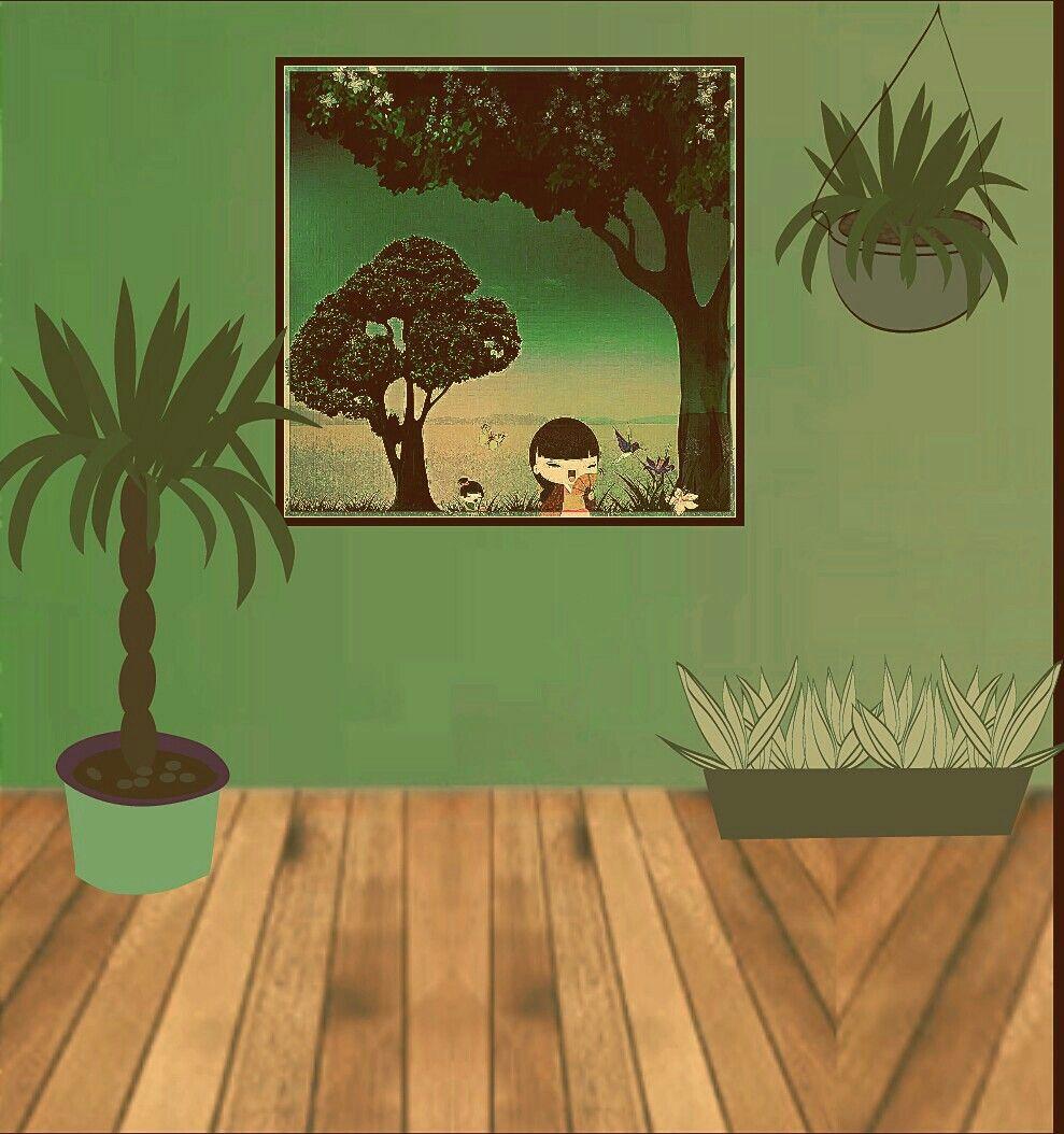 sugestão de um canto da casa para o quadro com tema japonês