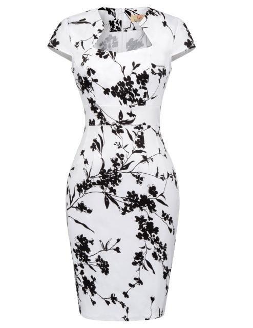 Vestido de lápiz de los años 60 y 60 Estilo de verano vintage Hasta la rodilla Lunares Estampado floral Vestidos de oficina de negocios con estampado informal 2019 Mujeres – 14 S