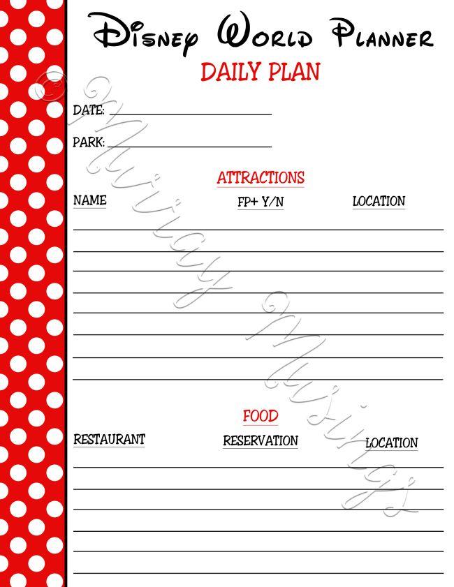 disney world planner daily plan freeprintable disneyworld the happiest place on earth. Black Bedroom Furniture Sets. Home Design Ideas
