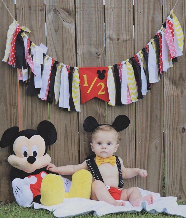 Mickey Mouse Half Birthday Banner Half Birthday Banner 6 Month
