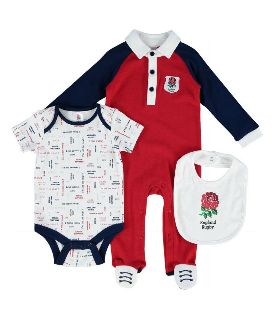 Red//White Wales WRU 2019 World Cup Baby Grow Infant 3 Piece Rugby Gift Set