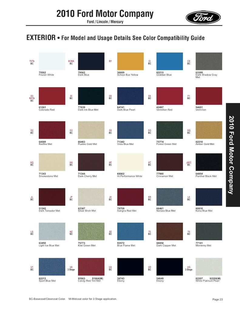 2010 Lincoln Continental Models Lineup Color Code Reference Guide 2009 Ford Mustang Sherwin William
