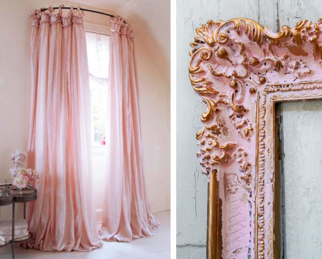 pink curtains and frame interior decor decoration antique