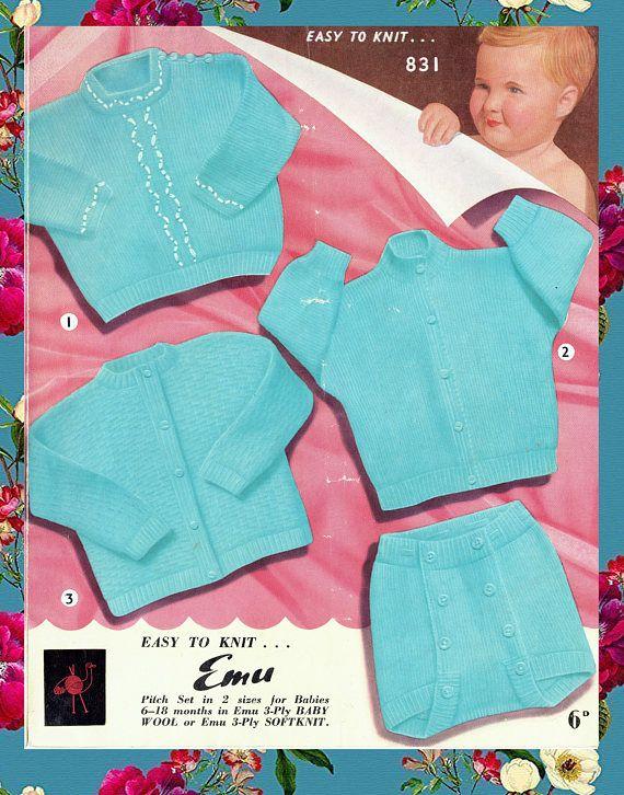 Original Vintage 1950s Baby Knitting Pattern Boy BLUE Sailor ...