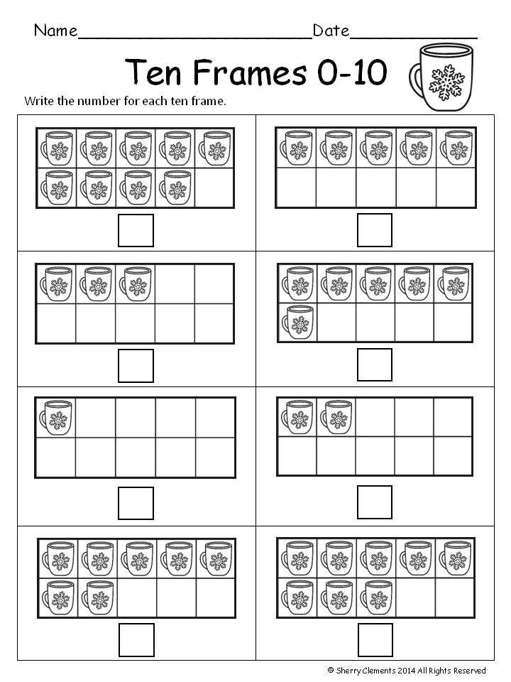 Winter Ten Frames 0 10 Ten Frames Kindergarten Lessons