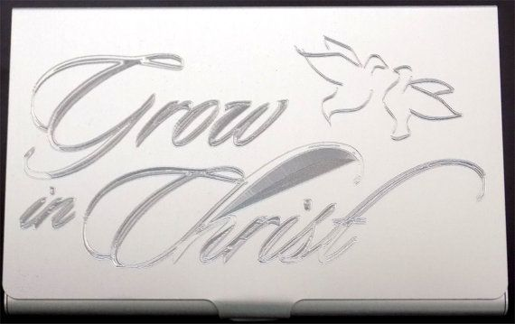 Grow In Christ Christian God Engraved Business Credit Card Holder Gift BUS-0153