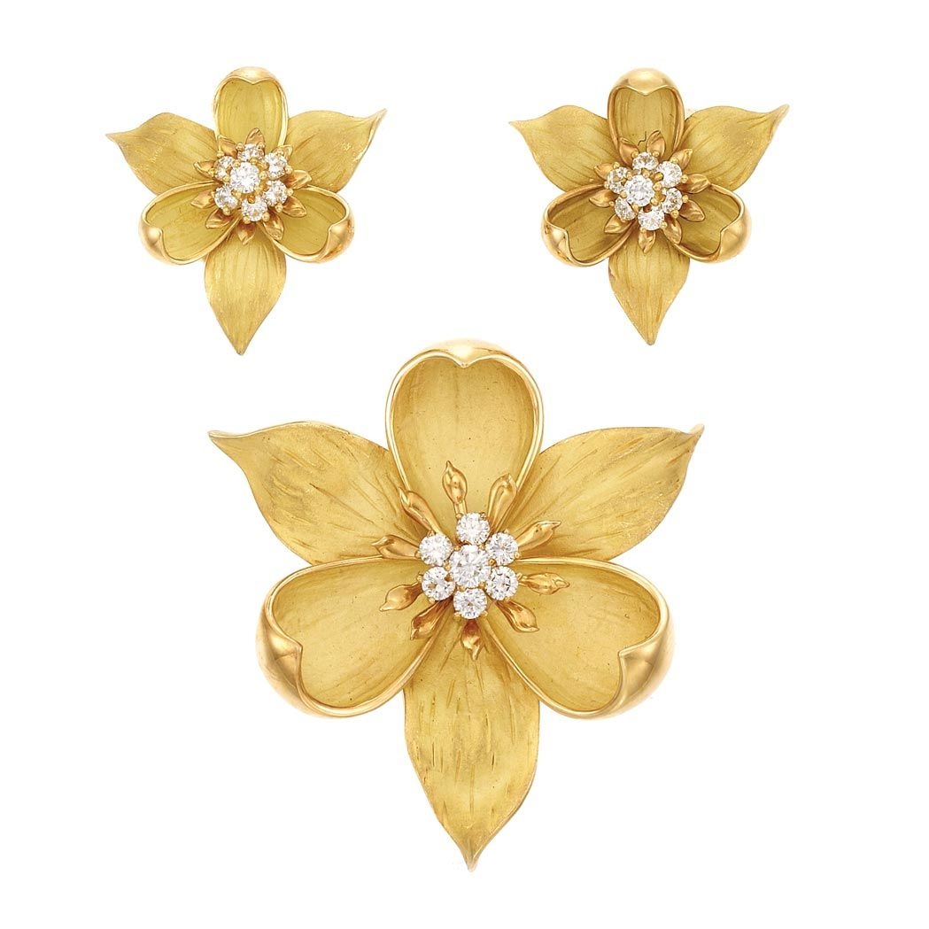 246cb2fb1b601 Gold and Diamond Flower Brooch and Pair of Earrings, Tiffany & Co ...