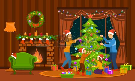 Family Decorating Christmas Tree In Living Room At Home Scene Christmas Tree Drawing Christmas Drawing Cute Christmas Wallpaper