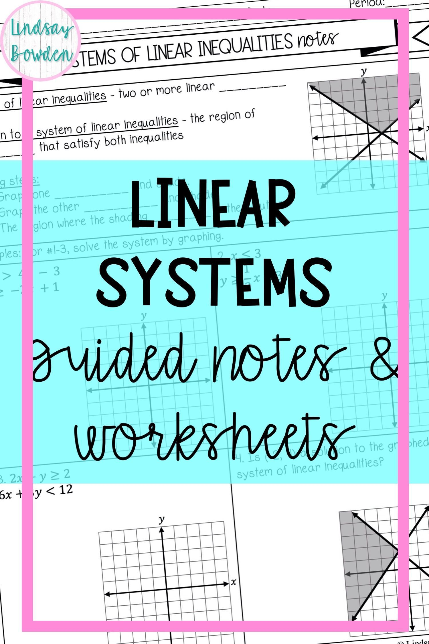 Linear Systems Notes And Worksheets In 2020 Guided Notes Linear System Graphing