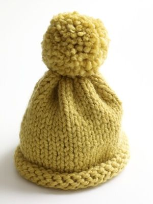 Knit Hat Lion Brand® Wool-Ease® Thick   Quick® Pattern    80405AD This easy  hat knits up quickly. The pompom on top adds a fun touch. a2e30af0d87