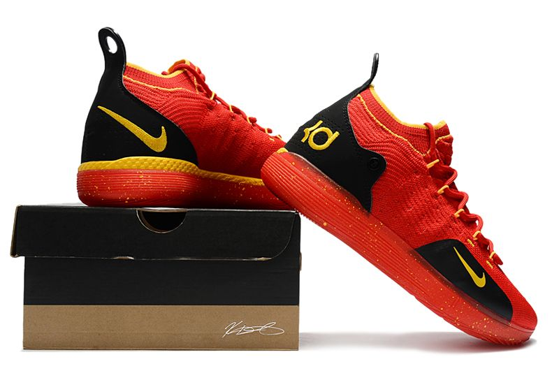 c8f8475def2a 2018 Men s Nike KD 11 University Red Black-Yellow Basketball Shoes ...