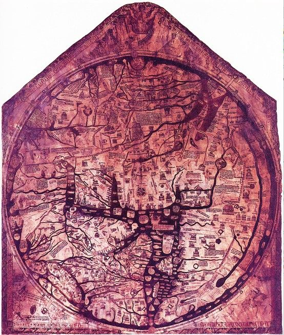 """The Hereford Mappa Mundi was drawn by """"Richard of Haldingham or Lafford""""  c.1300. """"Superimposed on to the continents are drawings of the history of humankind and the marvels of the natural world. These 500 or so drawings include images of around 420 cities and towns, 15 Biblical events, 33 plants, animals, birds and strange creatures, 32 images of the peoples of the world and 8 pictures from classical mythology."""