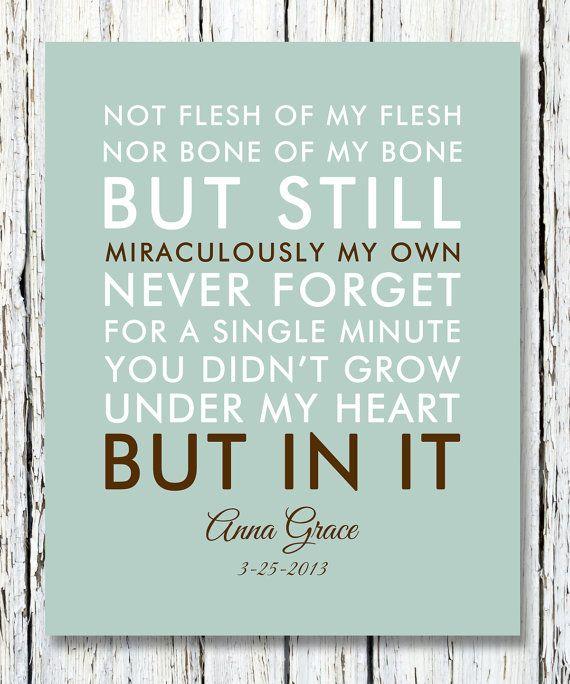 NOT FLESH Of My Flesh Not BONE Of My Bone Quote Adoption Creed Inspiration Quotation Of B S Custom