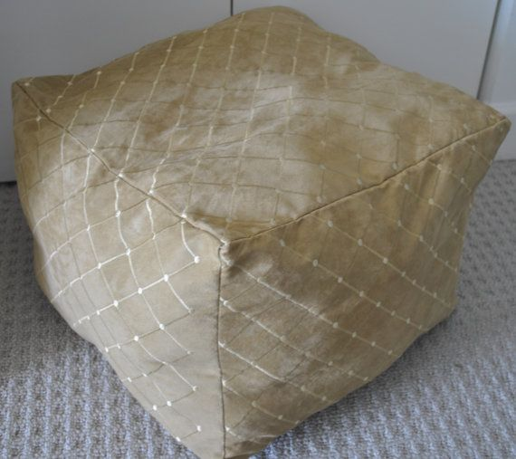 POUF OTTOMAN  in Suede golden color with embroidery. by vlady1, $79.90