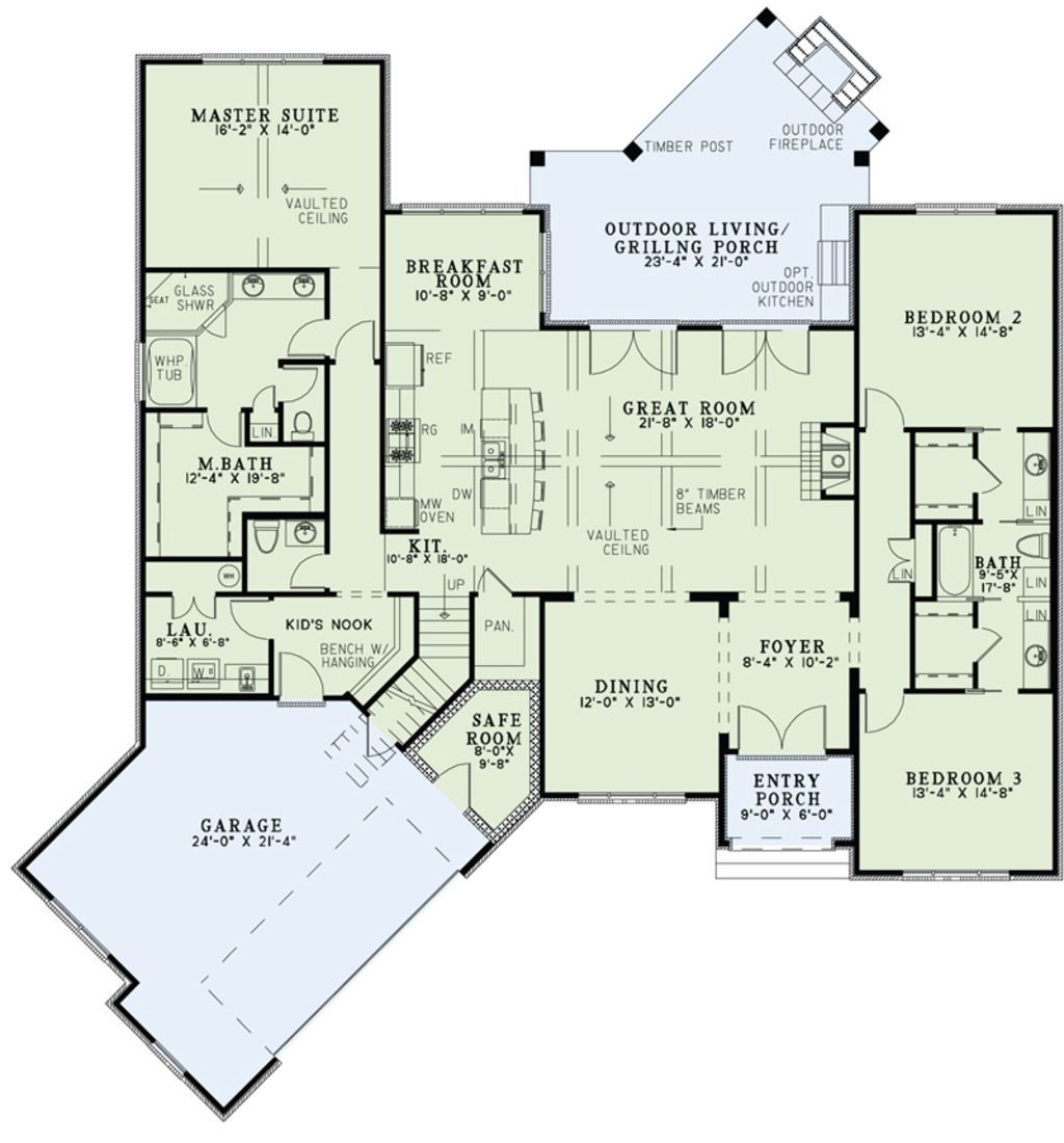 European Style House Plan 3 Beds 2 5 Baths 2408 Sq Ft Plan 17 2522 Courtyard House Plans House Plans Bedroom Floor Plans