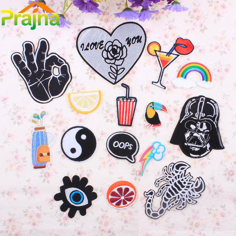1PCS Logo Skull Rainbow Patch Biker Cheap Embroidered Patches Punk Iron On Cute Patches For Clothes Jeans Applique DIY Accessory#cheap embroidered patches