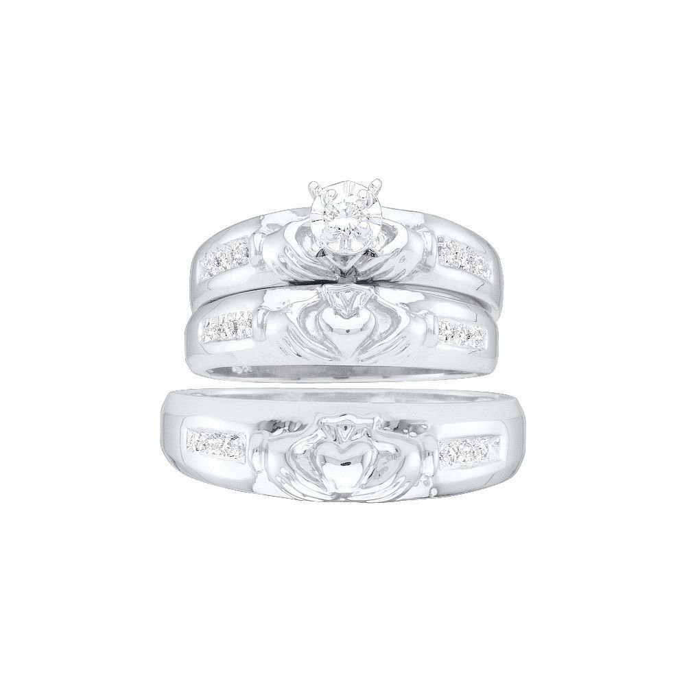 claddagh wedding ring set 10k White Gold Diamond Matching Claddagh Mens Womens His Hers Trio Wedding Ring Set 1