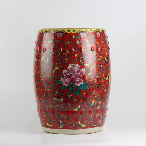 Peony Butterfly Pattern Royal Ceramic Drum Stools,red Garden Stool