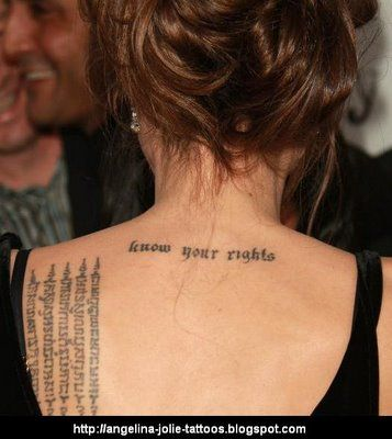 Angelina Jolie Tattoo Meaning Know Your Rights Font Lesbians